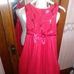 Lovely frilly sleeveless Girls Red Dress size 10